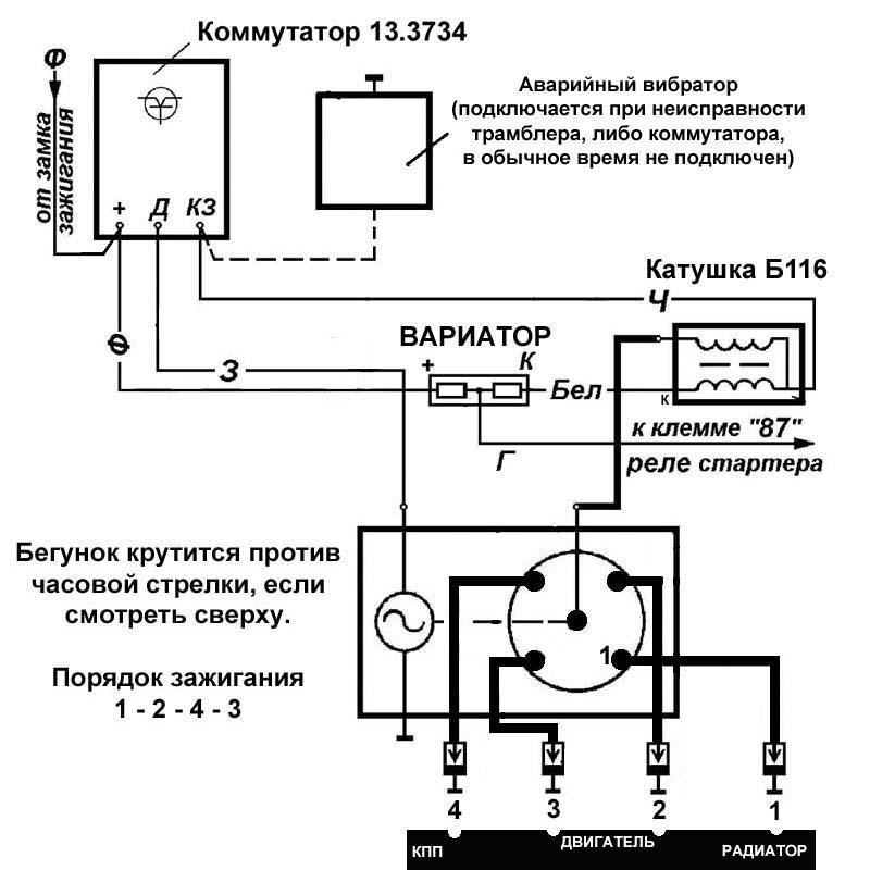 Бесконтактная схема СЗ с коммутатором для УАЗ