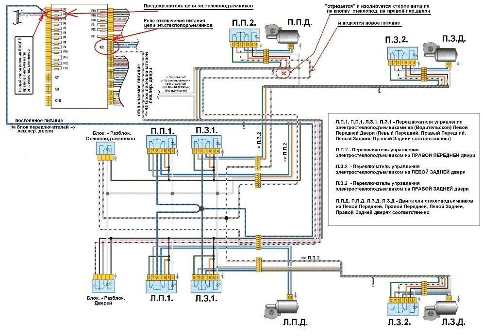 Схема подключения СП на Калине
