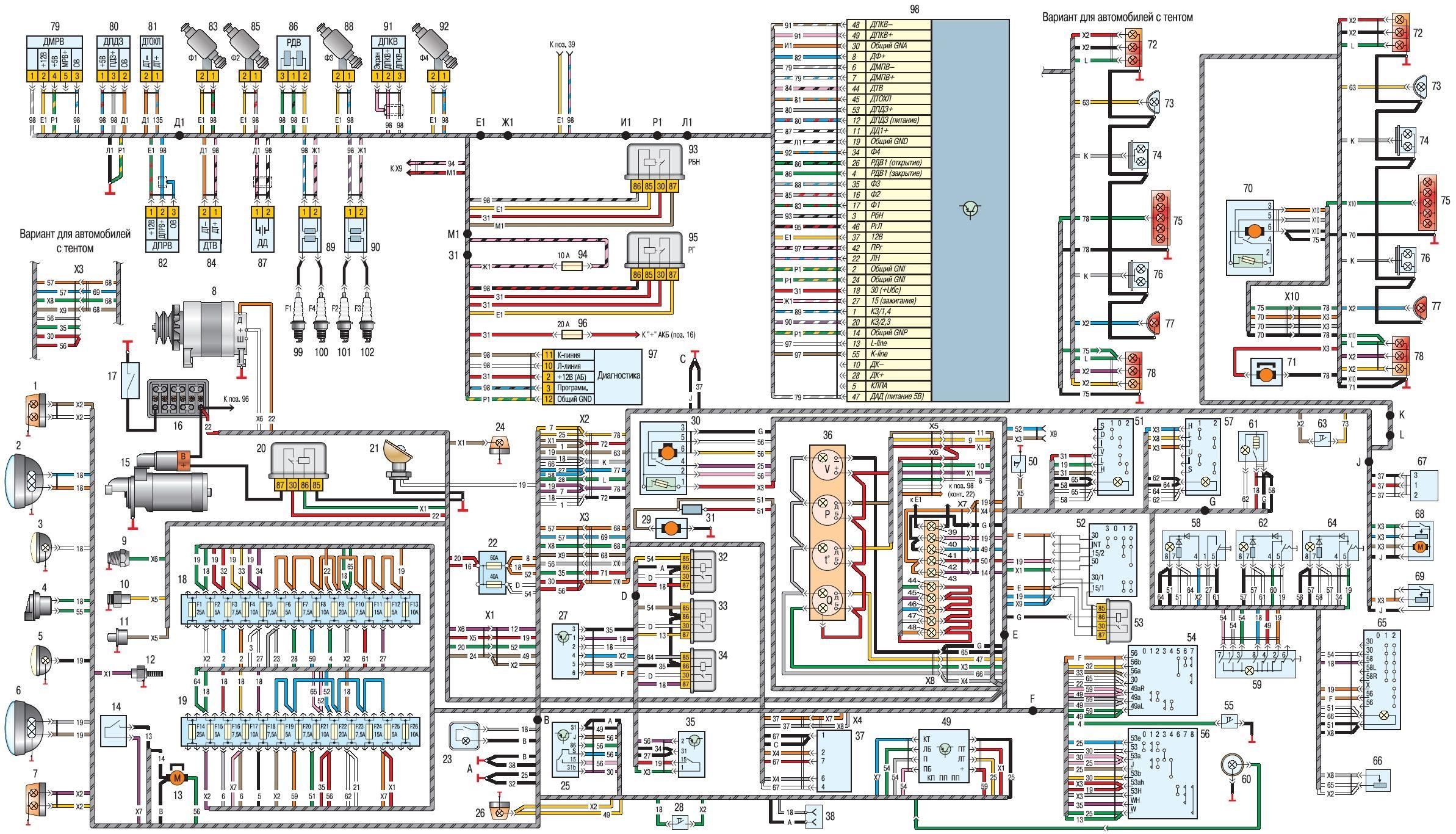 Электросхема проводки и оборудования Хантера