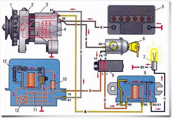Схема подключения узла к бортовой сети «шестерки»
