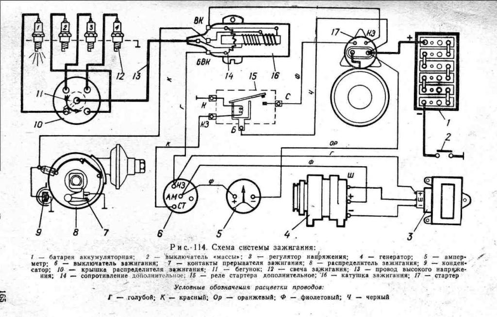 Схема СЗ и обозначение ее элементов для старых двигателей УАЗ