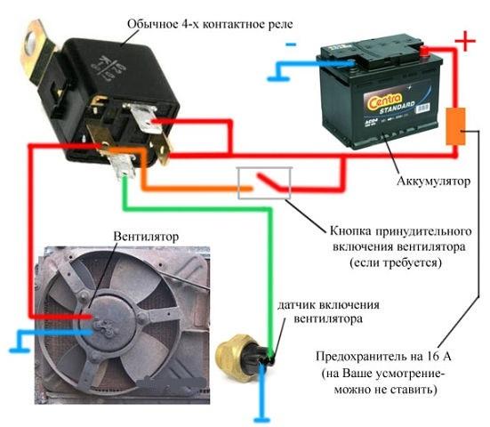 Схема подключения датчика в системе охлаждения