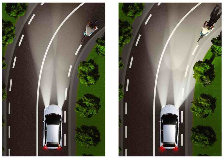 Сравнение обычного освещения и адаптивного во время поворота